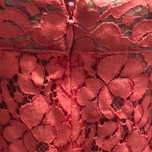 Apt. 9 Skirts - Tan with Coral Lace Overlay Pencil Skirt